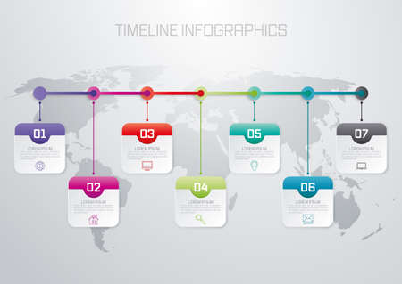 diagrama de procesos: ilustración vectorial infografía línea de tiempo de siete opciones.