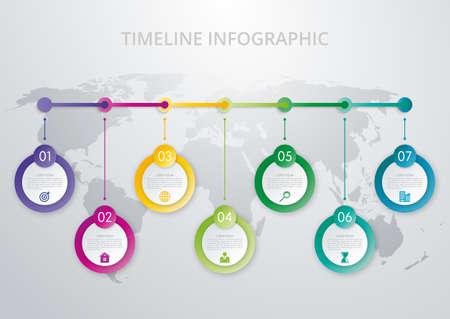 modello infografica Timeline. Design colorato moderno. illustrazione di vettore