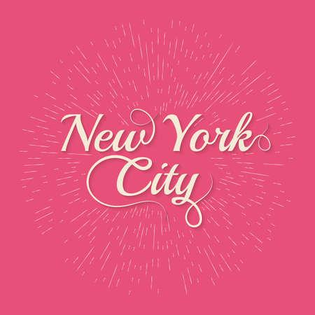 hand lettered: Vintage Hand lettered textured New York.