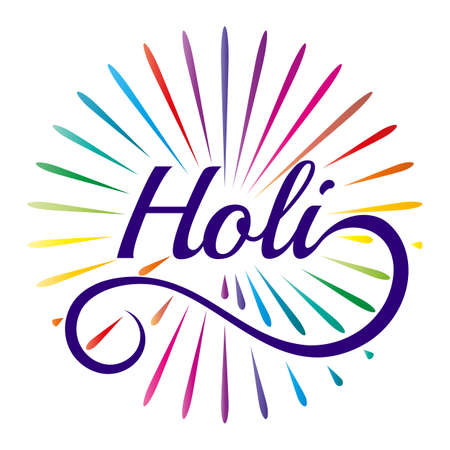 occassion: Indian color festival Holi celebration concept with stylish text Illustration