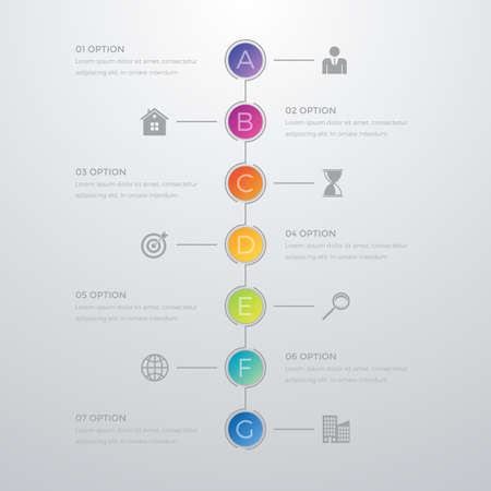 Vector illustration infographics timeline seven options.