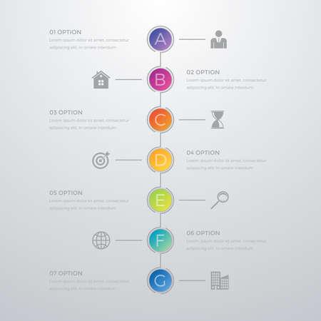 Vector illustration infographics timeline seven options. Reklamní fotografie - 54972079