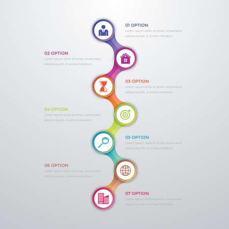 technology banner: Vector illustration infographics timeline seven options.