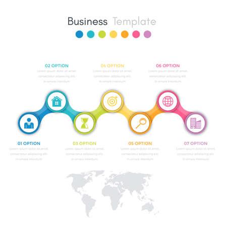 Vector illustration infographics timeline seven options.