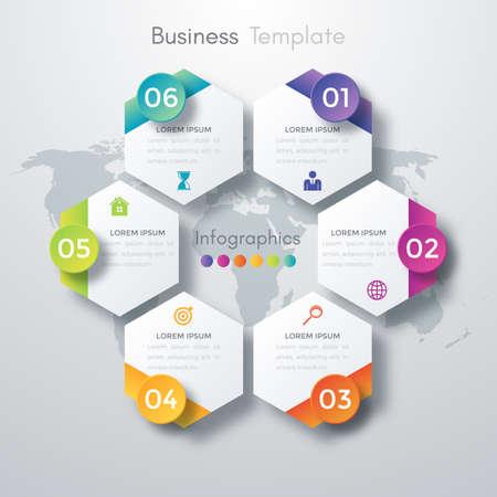 advertising design: Vector illustration infographics six options. Stock vector
