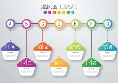 digital illustration: Timeline infographics template. Colorful modern design. Vector illustration