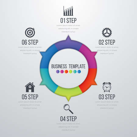 Infographic design with colored and white circles on the grey background.