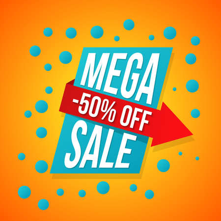 Sale vector origami concept banner template special offer 50 off. Abstract background. Discount design layout. Just now. Illustration