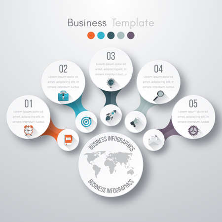 point: Timeline Vector 3d Infographic five options. Stock vector