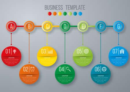 Timeline infographics template. Colorful modern design. Vector illustration