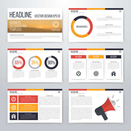 Infographics presentation template flat design. Cover brochure  イラスト・ベクター素材