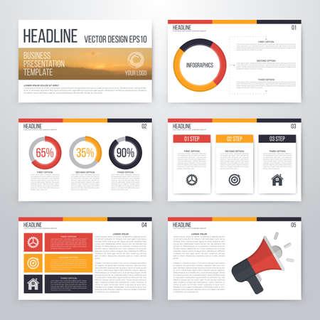 Infographics presentation template flat design. Cover brochure 일러스트