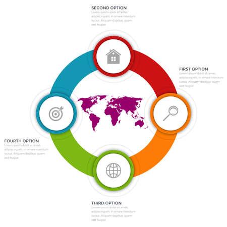 arrow circles: Vector illustration of four circles infographics options Illustration