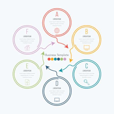 Dünne Linie Infografik-Element. Linear flache Diagramm, Diagramm, Schema, Graph mit 6 Schritten