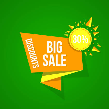 Sale vector origami concept banner template special offer. Abstract background. Discount design layout. Just now.