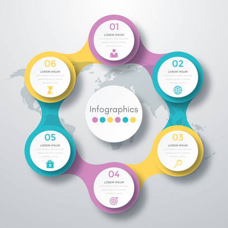 iterative: Infographic design with colored and white circles on the grey background. Eps 10 vector file. Illustration