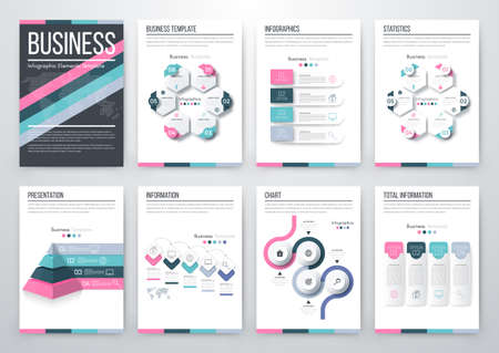 a4: Infographic vector set. Business graphics brochures a4 Illustration