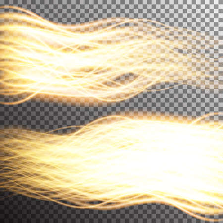 Special light fire effect. Vector illustration transparent