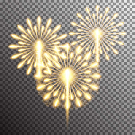 fourth birthday: Set of isolated realistic vector fireworks on transparent background Illustration