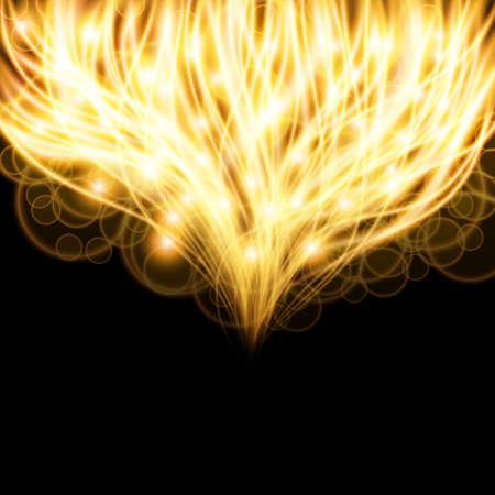 Special light fire effect. Vector illustration transparent