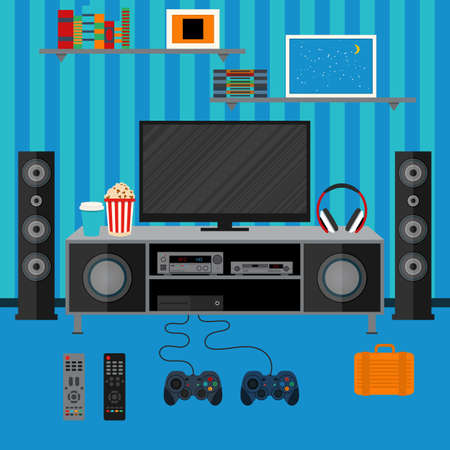home cinema: Vector illustration apartment with a home cinema. Illustration flat TV. Illustration
