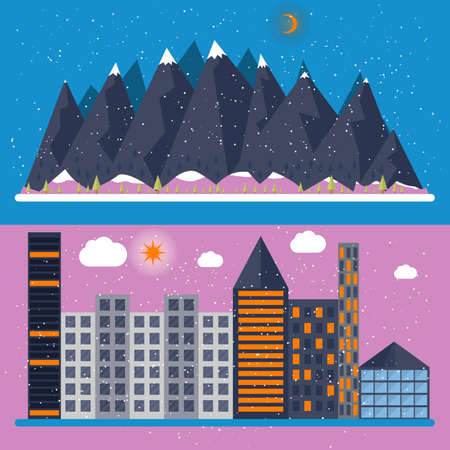 Vector illustration of a flat design with city, mountain. Stock vector