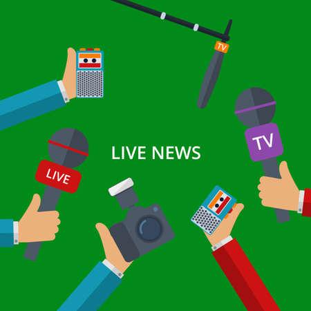 grabadora: Ilustración del vector de noticias en vivo. Manos con micrófonos, grabadoras, cámaras.