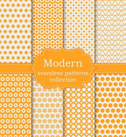 Vector illustration set of seamless modern patterns. Stock vector