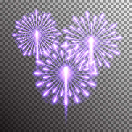 Set of isolated realistic vector fireworks on transparent background Illustration