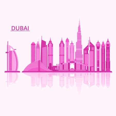 tower tall: Vector illustration of Dubai city