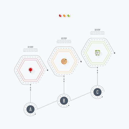 Infografik Vorlage 3 Optionen Mit Sechseck. Kann Für Die Workflow ...
