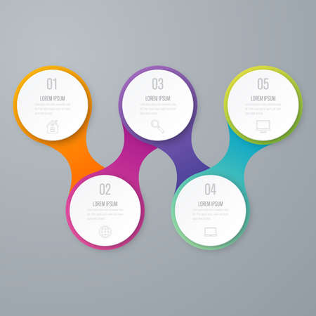 annual ring annual ring: Business infographics. Timeline with 5 circles