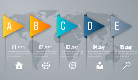 unusual: Timeline infographic five step with 3d triangle arrow Illustration