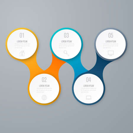 annual ring annual ring: Timeline with 5 step circles. Vector infographic element.