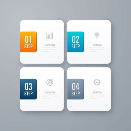 numbers background: Business infographics template 4 steps with square. Can be used for workflow layout, diagram, number options, web design, presentations Illustration