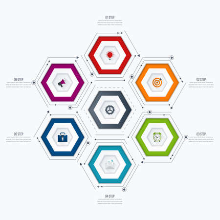 report icon: Vector illustration infographics six options. Template for brochure, business, web design