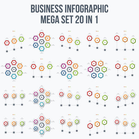 report icon: Set with infographics