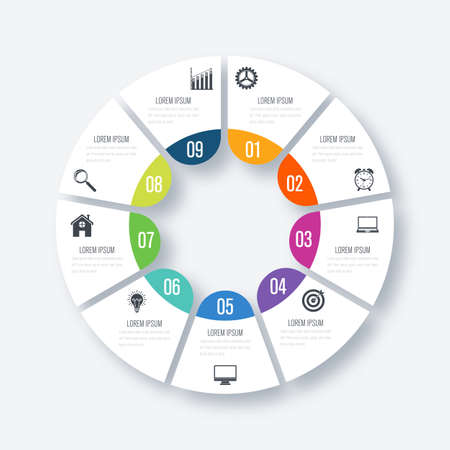 Infographics template 9 options with circles. Can be used for workflow layout, diagram, number options, step up options, web design, presentations