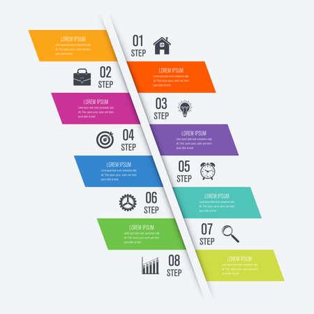 Modèle infographie pour diagramme, graphique, présentation et graphique. Concept d'entreprise avec 8 options Vecteurs
