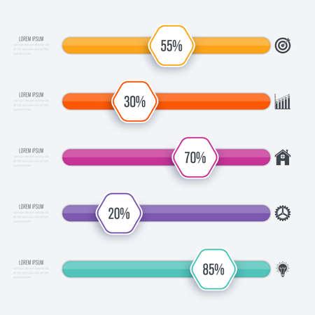 Vector illustration infographie cinq options stocks de vecteur Banque d'images - 83314456