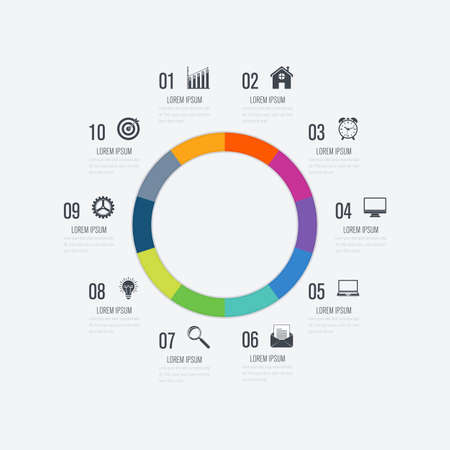 Template 10 options with circles that can be used for workflow layout.presentations