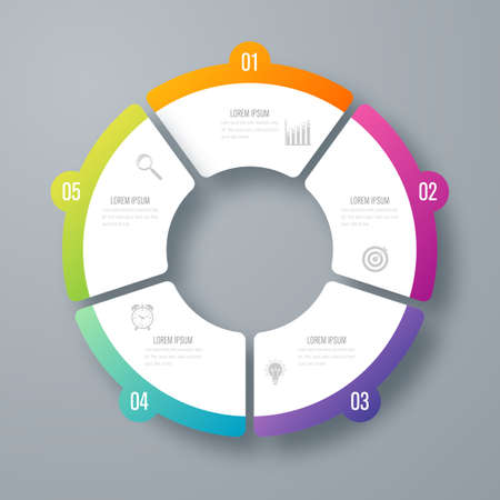 Infographics template 5 options with circle Illustration