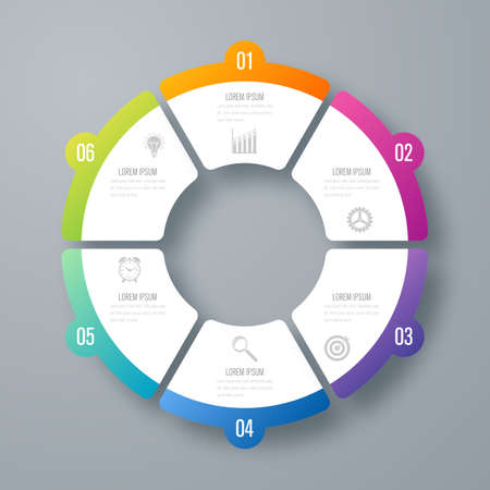 Infographics template 6 options with circle Illustration