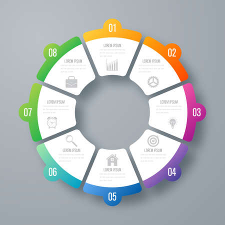 Infographics template 8 options with circle