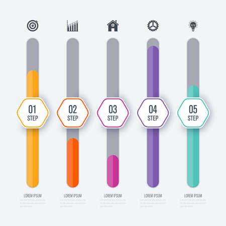 Vector illustratie infographic vijf opties Stock Illustratie