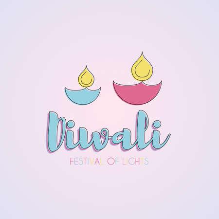 fire crackers: Happy Diwali text design Illustration
