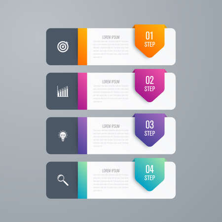 rectangle: Business infographics template 4 steps with square