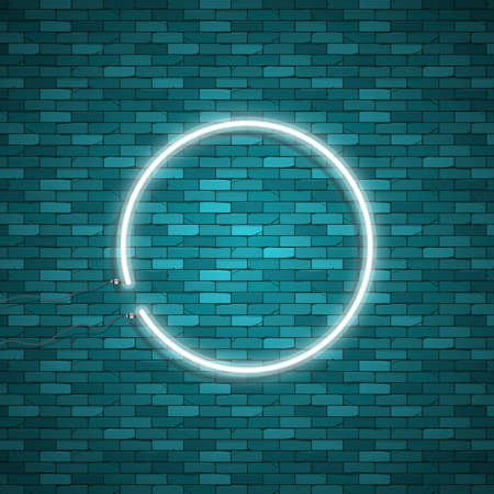 bright: Bulb glowing. Neon ring lamp sign