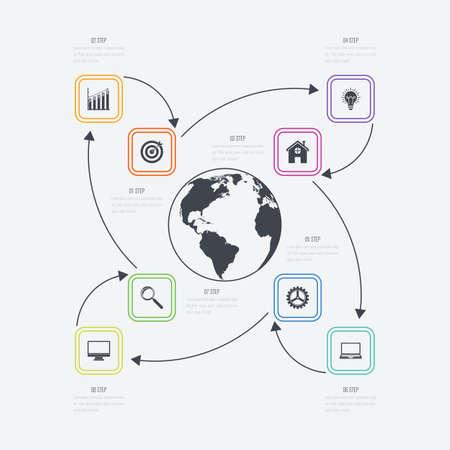 Vector illustration infographics 8 options Illustration