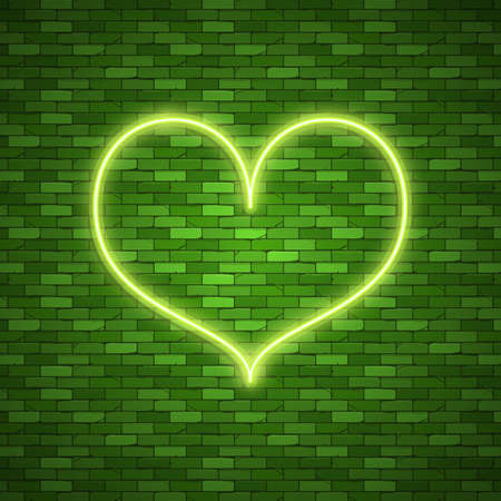 Bright heart. Neon sign. Retro blue neon heart sign on dark background. Design element for Happy Valentine's Day. Ready for your design, greeting card, banner. 向量圖像
